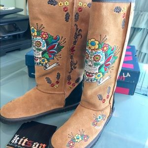 LA Kitson Day of the Dead Suede Boots
